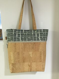 Noodle head caravan tote in cork and Carolyn freidlander fabric