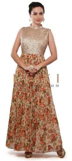 Buy Online from the link below. We ship worldwide (Free Shipping over US$100). Product SKU - 313800. Product Price - $269.00. Product link - http://www.kalkifashion.com/beige-anarkali-suit-featuring-with-sequin-bodice-only-on-kalki.html: