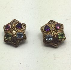 Rare Vintage Estate Faceted Gemstone Sterling Silver 18k Gold Clip Earrings Lacy  | eBay