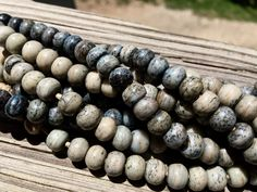 8mm Round Bone Beads, Handcrafted Steel Blue Grey Color, Boho Native Tribal…