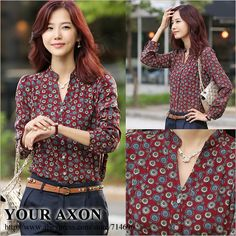 1208 New Fashion 2013 Spring summer autumn formal career elegant print chiffon work shirts casual for women's tops a+ blouse $11.11