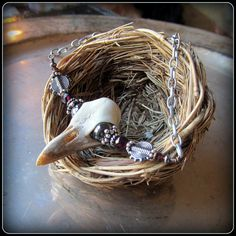 Raven Bird Skull Necklace ~ Carved Antler looks like real skull ~ Cream White Color ~ realistic ~ adjustable length on Etsy, $44.00