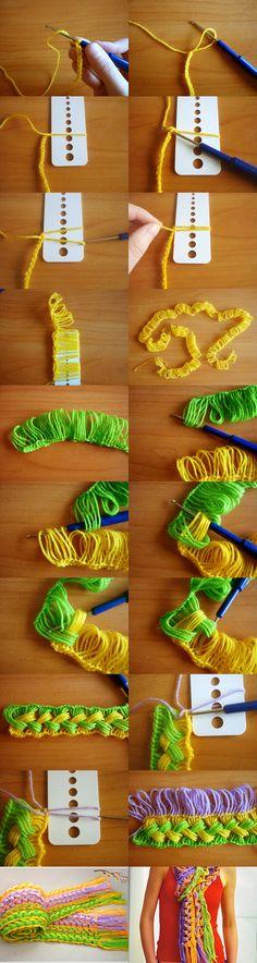 Knitting  your own scarf is so easy ! :)  Tutorial --> http://wonderfuldiy.com/wonderful-diy-hook-knit-scarf/