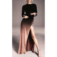 $20.05 Sexy Round Collar Ombre High Slit Long Sleeve Dress For Women