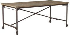 Gramercy Oak and Aged Metal Dining Table, Small from OKA