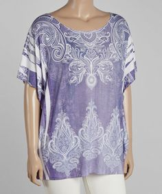 Another great find on #zulily! Periwinkle Paisley Cape-Sleeve Top - Plus by Poliana Plus #zulilyfinds