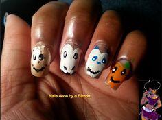 OMD 31 day nail art challenge Hearts cookie heart,skull heart,Panda  heart, and orange heart