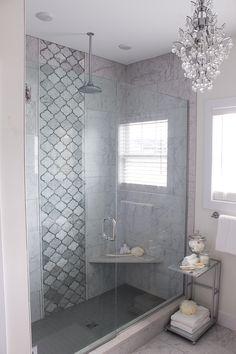 Master Bathroom Tour Master Bathroom Shower, Modern Master Bathroom, Upstairs Bathrooms, Master Bathroom Designs, Small Grey Bathrooms, Gray Shower Tile, Luxury Master Bathrooms, Master Baths, Bathroom Showers