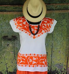 Hand Embroidered Orange & White Huipil / Blouse, Jalapa Mexico Hippie Cowgirl #Handmade #Huipil