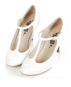 Retro White T-bar Round Toe Leather Heeled Shoes