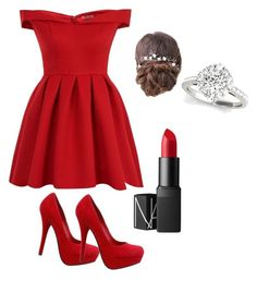 """""""Red is the new Black"""" by jjfab01 on Polyvore featuring Chi Chi and NARS Cosmetics"""