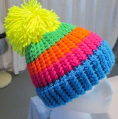 NEON Striped Knit Hat BCD100262 by TheBossyCow on Etsy
