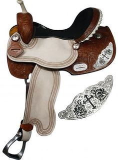 Double T Barrel Style Saddle With Engraved Silver Cross Accents | ChickSaddlery.com