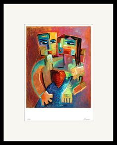 Valentines Gift Loving Figures and Heart Painting Canvas Art Prints, Painting Prints, Painting Canvas, Great Paintings, Beautiful Paintings, Heart Painting, Valentines Gifts For Her, Love Art, Giclee Print