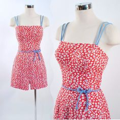 Vintage 1950s Sea Weeds Red Daisy Floral Cotton by GeronimoVintage, $79.95. Love rompers. I wish they still made them.