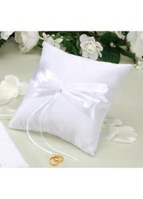 """Create our own personal look by adding embellishments, in your wedding colors, to this """"Design your own Ring Pillow"""". Measures: 7"""" x 7""""."""