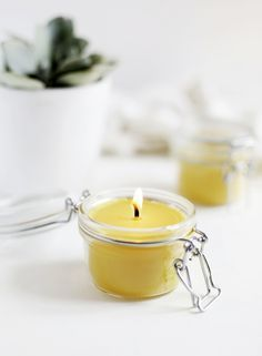 DIY: beeswax and coconut oil candles