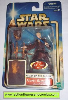 star wars action figures ANAKIN SKYWALKER tatooine attack 2002 Attack of the clones saga movie hasbro toys moc mip mib