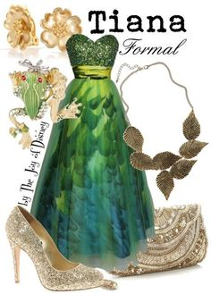 Disney Bound: Tiana from Disney's Princess and the Frog (Formal Outfit) by The Joy of Disney Disney Prom Dresses, Disney Inspired Dresses, Disney Princess Outfits, Disney Inspired Fashion, Disney Inspired Outfits, Disney Outfits, Disney Fashion, Dress Prom, Disney Princesses