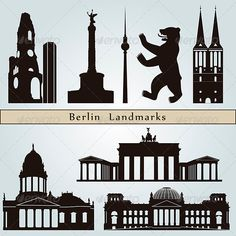 Berlin Landmarks and Monuments  #GraphicRiver         Berlin landmarks and monuments isolated on blue background in editable vector file     Created: 1August13 GraphicsFilesIncluded: LayeredPNG #JPGImage #VectorEPS Layered: Yes MinimumAdobeCSVersion: CS Tags: architecture #berlin #black #bluebackground #building #city #cityscape #destination #europe #germany #icon #illustration #isolated #landmark #metropolis #monuments #outline #place #set #silhouette #skyline #skyscraper #symbol #travel…