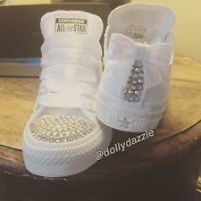 Wedding Personalised Bling Customised Converse Ladies Shoes Bridal Trainers 3-8