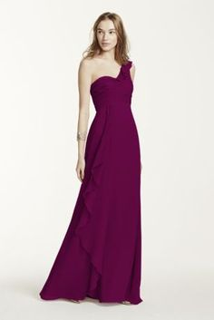 Delicate and stylish, this feminine crinkle chiffon bridesmaid dress was designed with ethereal beauty in mind!  One shoulder bodice featurescascading detailing on bust.  Front cascading accentcreates movement while leg slit adds drama for a flawless finish.  Also available in Extra Length as Style 4XLF15734.  Fully lined. Back zip. Imported polyester. Dry clean. To protect your dress, try our Non Woven Garment Bag.