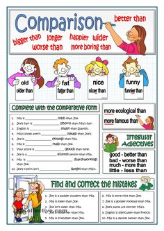 A collection of English ESL Comparison: Comparative adjectives and structures worksheets for home learning, online practice, distance learning and English cl. English Adjectives, English Grammar Worksheets, Teaching English Grammar, Grammar Book, Basic Grammar, Grammar And Vocabulary, Grammar Lessons, English Vocabulary, Grammar Chart