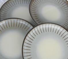 Vintage Set of 4 Denby Langley Studio Dinner Plates Grey Brown Stripes England #Denby