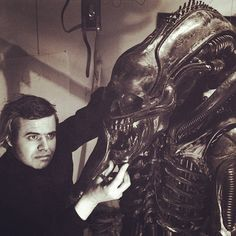 H.R. Giger working on the costume design of a creature on Alien (1979)