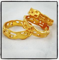 14k gold vermeil rings -- Handcarved in wax using lost wax casting technique.