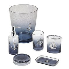 Decorate the bathroom of your home or beach house with this season's hottest trend, nautical decor, with the Anchors Ombré Bath Ensemble. The two-tone bubble glass is accentuated with a silvertone nautical symbol for an ocean-inspired ambiance. Nautical Bathroom Accessories, Nautical Bathrooms, Modern Bathroom Decor, Bathroom Styling, Bath Accessories, Small Bathroom, Bathroom Ideas, Bathroom Designs, Bathroom Renovations