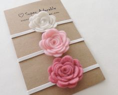 Felt Flower Headband -  Pick 3 Colors - Felt Baby Headband, Newborn Headband, Baby Girl Headband, Flower Headband by SuperAdorable on Etsy https://www.etsy.com/listing/198433648/felt-flower-headband-pick-3-colors-felt
