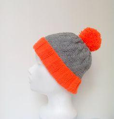 Pom pom Orange Neon Grey Slouchy Beanie Hat  Tenn by HappyWoollies