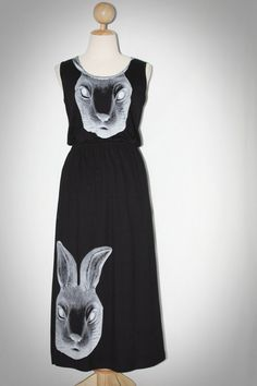 Rabbit Mask Black Tank Top Long Dress Sleeveless Punk Rock T-Shirt Size L