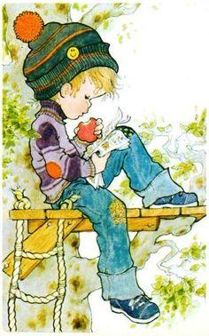Vintage Sarah Kay illustration. Boy in tree house.