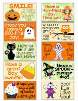 FREE Halloween Lunch Box Notes.  There isn't a download ling so I just clicked on the notes so they became  large and copy and pasted them into a Word Document.  Had to resize the pic as well.
