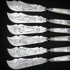 French Sterling Silver Mother of Pearl Fish Fork & Knife Set, Rare Engraved Sea Life, Flatware Cutlery