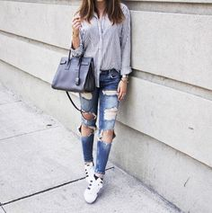 Pin for Later: 100 Easy Outfits to Try When You Truly Hate Your Closet A Striped Button-Front Shirt, Distressed Jeans, and Sneakers