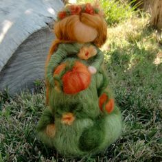 Wool Doll  Pumpkin Fairy Maiden  Made to order  Waldorf by Nushkie, $38.00