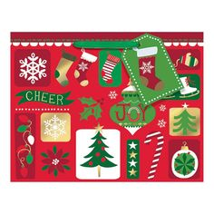 7 in. x 9 in. x 4 in. Christmas Patchwork Hot Stamped Paper Medium Horizontal Bag (18-Pack)