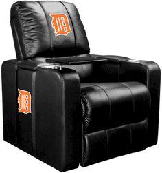 Detroit Tigers MLB Orange Logo Home Theater Plus Leather Recliner at Man Cave Kingdom.