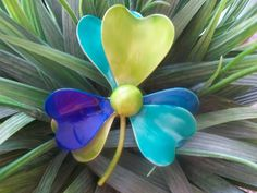 These colors are amazing. Vintage Turquoise Blue And Lime Green Enamel Flower by VintageEnvy