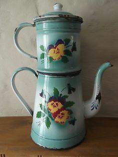 """Vintage French  Enamelware  Enamel Coffee Pot / Biggin + LID """"PANSIES - VIOLETS"""""""