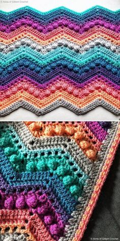 I looooove this colorway! It's rich and evokes the most beautiful lake sunset vibes. Bobble stitch creates lovely detailing on this otherwise simple blanket and goes perfectly well with basic stitches. Crochet Afghans, Crochet Ripple Blanket, Afghan Crochet Patterns, Crochet Stitches, Simple Crochet Blanket, Chevron Crochet Blanket Pattern, Crotchet Blanket, Crocheted Blankets, Easy Knitting Projects