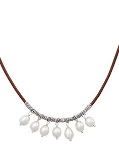 """Pearls of Wisdom Necklace, Necklaces - Silpada Designs. Genuine Leather, Pearl, Sterling Silver. Adjusts 17""""-19"""". $69"""
