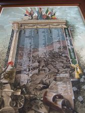 Torquay war memorial painting, Devon © War Memorials Trust, 2008 The war memorial in Torquay consists of an elaborate watercolour painting showing figures of Britannia, a lion, a cannon and various flags on top of marble columns. Beneath this names are painted onto a landscape of men running into No Man's Land.