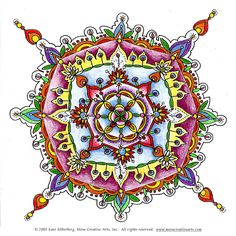 Colored mandalas - the mystical experience of divine inspiration and repetitive artistic development.