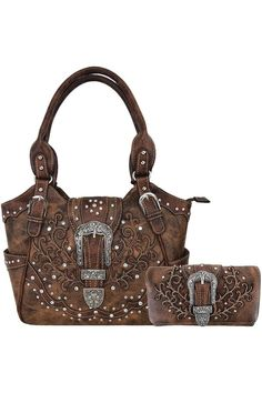 (This is an affiliate pin) Western Style Tooled Leather Concealed Carry Purse Buckle Handbags Country Shoulder Bags Wallet Set Brown Leather Tooling, Tooled Leather, Concealed Carry Purse, Shoulder Handbags, Shoulder Bags, Westerns, Purses, Wallet, Western Style