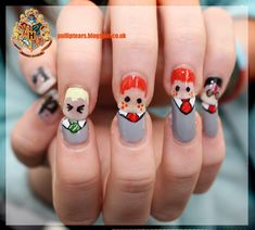 Harry Potter, Fred George Weasley and Draco Nail Art with HP on the thumb. I love painting fun nails! Harry Potter Nail Art, Harry Potter Nails Designs, Harry Potter Love, Harry Potter Characters, Cute Nail Art, Cute Nails, Pretty Nails, My Nails, Maquillage Harry Potter