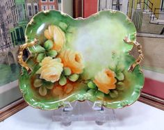 "ANTIQUE LIMOGES ARTIST SIGNED BUTTERFLY SHAPE FLORAL 12 1/2"" DRESSER TRAY 1900's"